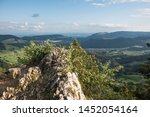 beautiful landscpe in the switzerland jura mountains, view from viewpoint chellenchöpfli in canton basel landschaft.