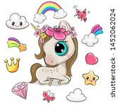 cute cartoon unicorn girl and... | Shutterstock .eps vector #1452062024