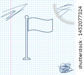 flag line sketch icon isolated...