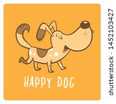 Stock vector greeting card with cute dog happy cartoon puppy vector illustration for kids funny animals 1452103427