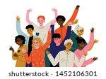happy young men and women...   Shutterstock .eps vector #1452106301