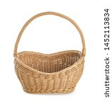 Empty wicker picnic basket on...