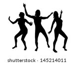silhouettes of dancing girls | Shutterstock .eps vector #145214011