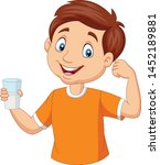 cartoon little boy holding a... | Shutterstock .eps vector #1452189881