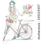 girl with bike | Shutterstock .eps vector #145219357