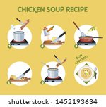 chicken soup recipe for cooking ... | Shutterstock . vector #1452193634