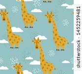 giraffes  hand drawn backdrop.... | Shutterstock .eps vector #1452259481