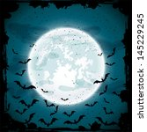 bats on moon background  scary... | Shutterstock .eps vector #145229245