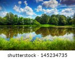 Lake In A Summer Forest. Sunny...
