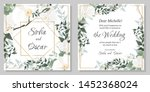 vector floral template for... | Shutterstock .eps vector #1452368024