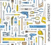 seamless pattern with manual... | Shutterstock .eps vector #1452399317