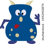 a cute dark blue monster with a ... | Shutterstock .eps vector #1452442874
