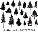 set. silhouettes of pine trees. ... | Shutterstock .eps vector #1452471944