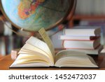 close up open books on the... | Shutterstock . vector #1452472037
