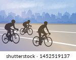 bicyclists silhouettes on the... | Shutterstock .eps vector #1452519137