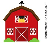 Cute Red Vector Barn With Hay ...