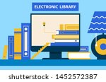 electronic library computer and ... | Shutterstock . vector #1452572387