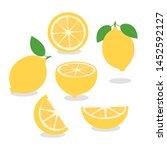 set of lemon with green leaves... | Shutterstock .eps vector #1452592127