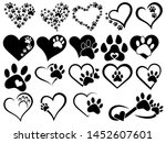 set of hearts with the paws of... | Shutterstock .eps vector #1452607601