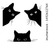 set of black cats looking out... | Shutterstock .eps vector #1452612764