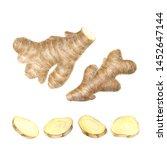 fresh ginger on white...   Shutterstock . vector #1452647144