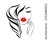 beautiful sexy face  red lips ... | Shutterstock .eps vector #1452680021