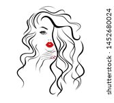 beautiful sexy face  red lips ... | Shutterstock .eps vector #1452680024