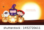 happy halloween kids costume... | Shutterstock .eps vector #1452720611