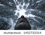 Stock photo bigfoot in the winter forest view from the bottom focus on the chin 1452732314