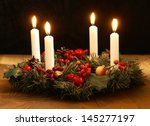 advent wreath with silver... | Shutterstock . vector #145277197