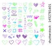 set chalk vector textures.... | Shutterstock .eps vector #1452781601