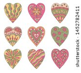 set of abstract doodle hearts... | Shutterstock .eps vector #1452782411