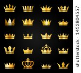 gold crown icons. queen king... | Shutterstock .eps vector #1452804557