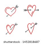 hand drawn red hearts with... | Shutterstock .eps vector #1452818687