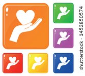 hand holding heart icons set... | Shutterstock .eps vector #1452850574