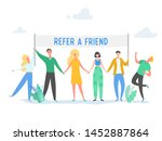 refer a friend concept with... | Shutterstock .eps vector #1452887864