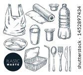 plastic waste  vector sketch... | Shutterstock .eps vector #1452897434