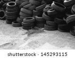 Waste Car Tires. Old Used Car...