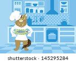 illustration of cat chef who...   Shutterstock .eps vector #145295284