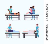 set masseurs therapists doing... | Shutterstock .eps vector #1452975641