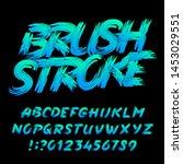brush stroke alphabet font....   Shutterstock .eps vector #1453029551