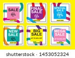 set media banners with discount ... | Shutterstock .eps vector #1453052324