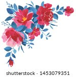 red and blue watercolor flower... | Shutterstock . vector #1453079351