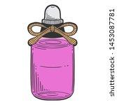 bottle with massage oil ... | Shutterstock .eps vector #1453087781