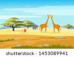 african safari flat vector... | Shutterstock .eps vector #1453089941