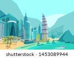 beautiful sea view flat vector... | Shutterstock .eps vector #1453089944