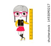 young girl with ruler flat... | Shutterstock .eps vector #1453090217