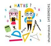 children at maths lesson flat... | Shutterstock .eps vector #1453090241