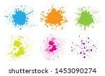 set of color paint splashes.... | Shutterstock .eps vector #1453090274