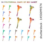 set of vector polygonal maps of ... | Shutterstock .eps vector #1453099574